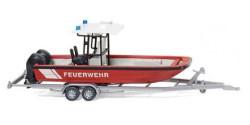 Anhänger mit Mehrzweckboot MZB 72 Lehmar Feuerwehr